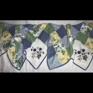 Curtain Valance Quilted Embroidered Cottage Chic